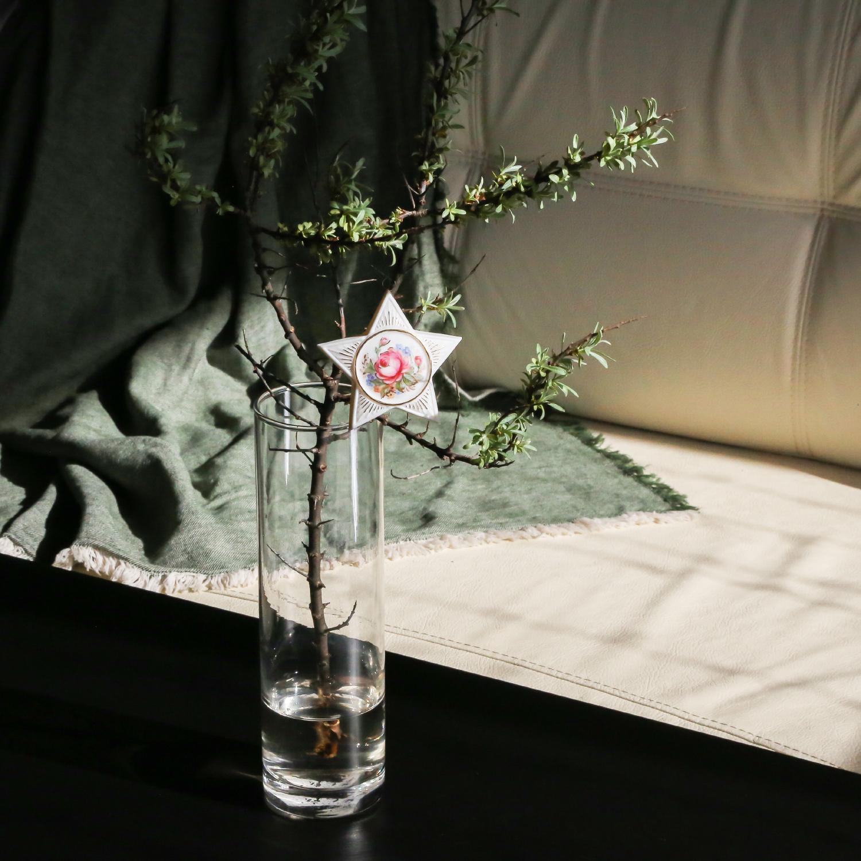 """Ёлочное украшение фарфоровое Rupor """"Звезда"""" (Роза №3)"""