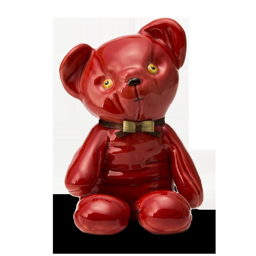 """Скульптура  фарфоровая Rupor """"Медвежонок 1976 год"""" красный, медовые глаза"""