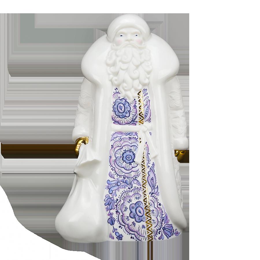 """Скульптура фарфоровая Rupor """"Дед Мороз"""" большой (Синие цветы)"""