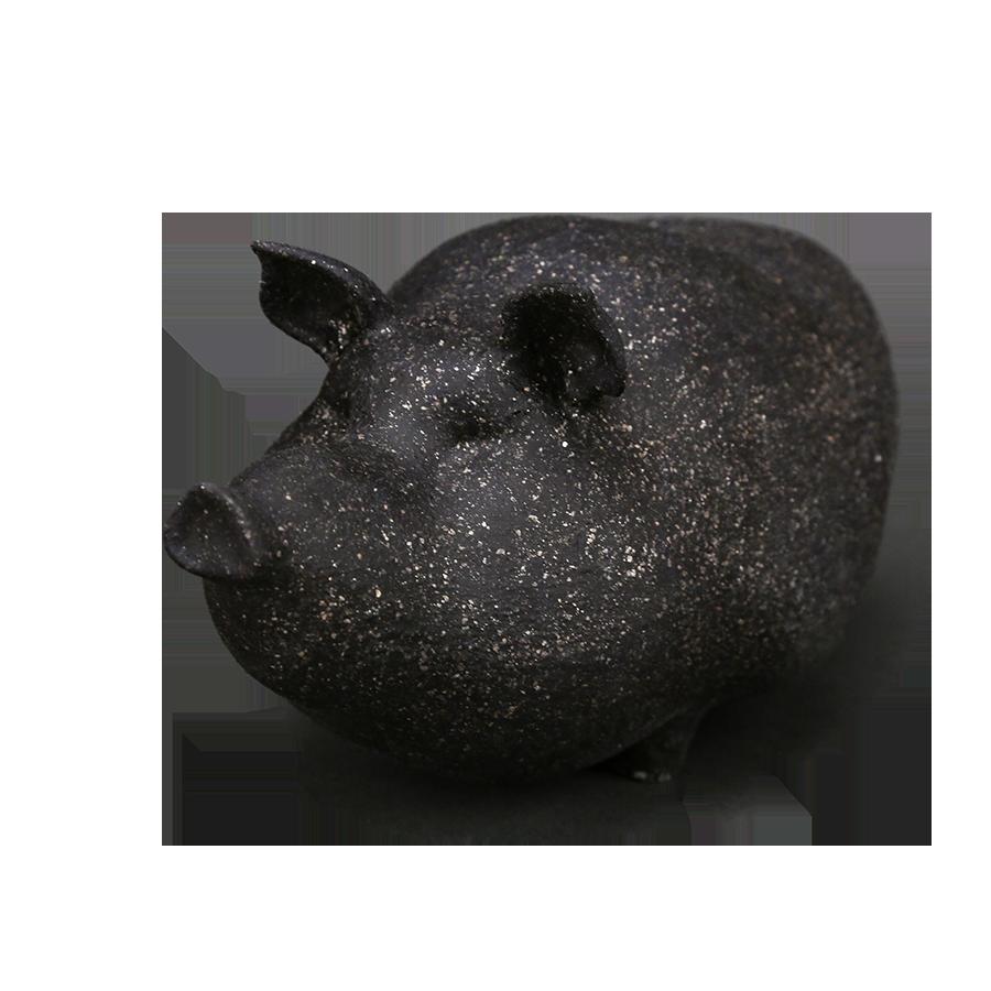 """Скульптура фарфоровая Rupor """"Свин"""" чёрный песок"""