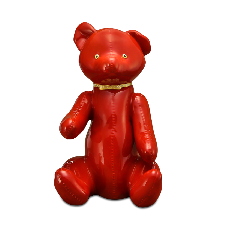 """Скульптура фарфоровая Rupor """"Медведь 1959 год"""" красный, голубые глаза"""