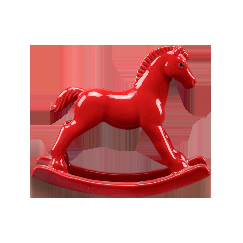 """Скульптура фарфоровая Rupor """"Лошадка-качалка"""" красная"""