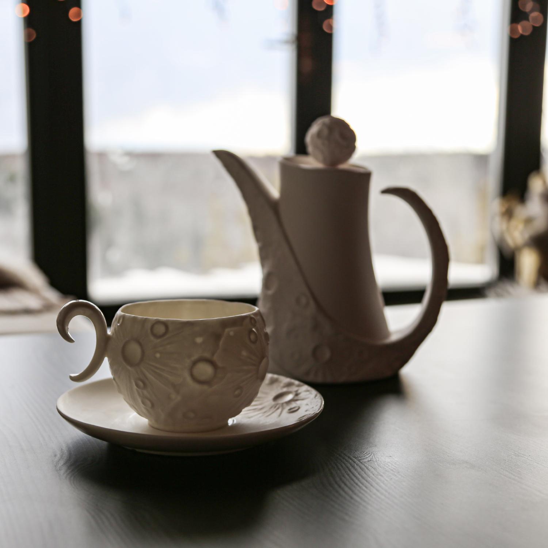 """Чашка фарфоровая Rupor """"Луна Вихрь"""" белая"""