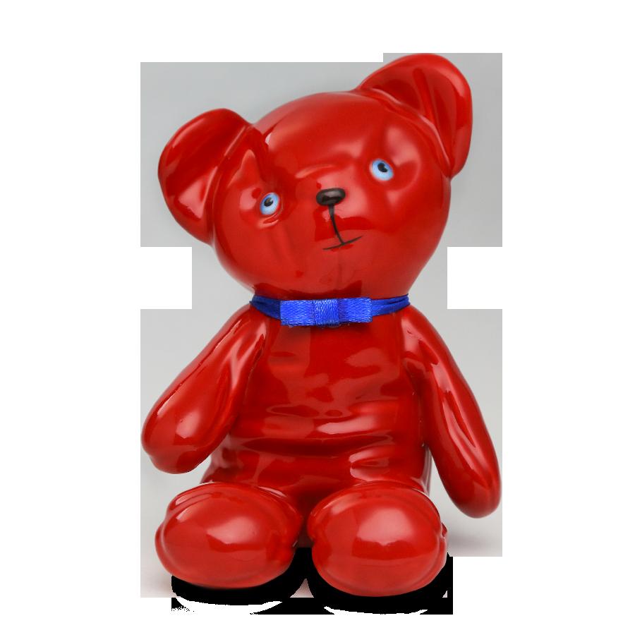 """Скульптура фарфоровая Rupor """"Медвежонок 1976 год"""" красный, голубые глаза"""