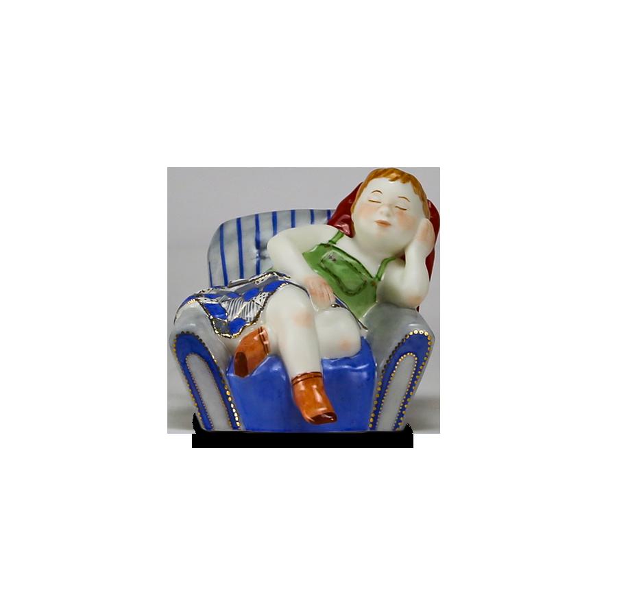 """Скульптура фарфоровая Rupor """"Телец"""" девочка роспись"""