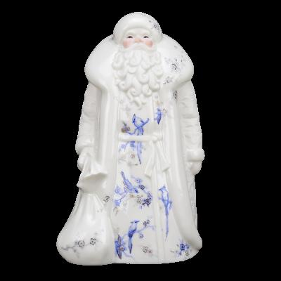 """Скульптура фарфоровая Rupor """"Дед Мороз"""" большой (Синие птицы)"""
